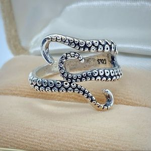 Sterling Silver Tentacles Ring Solid 925